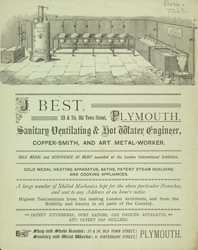 Advert For J. Best, Ventilating & Hot Water Engineer
